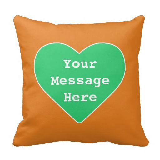 Green Orange Love Heart Icon Throw Pillow Cushion