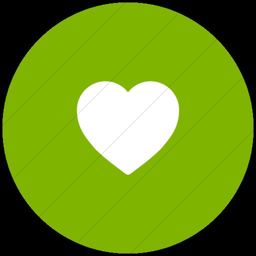 Flat Circle White On Green Foundation Heart Icon