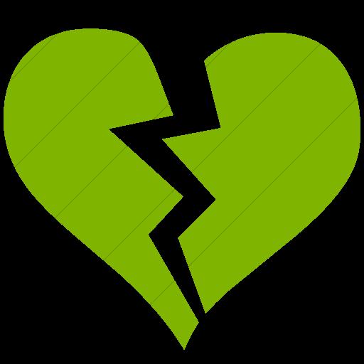 Simple Green Classica Broken Heart Icon