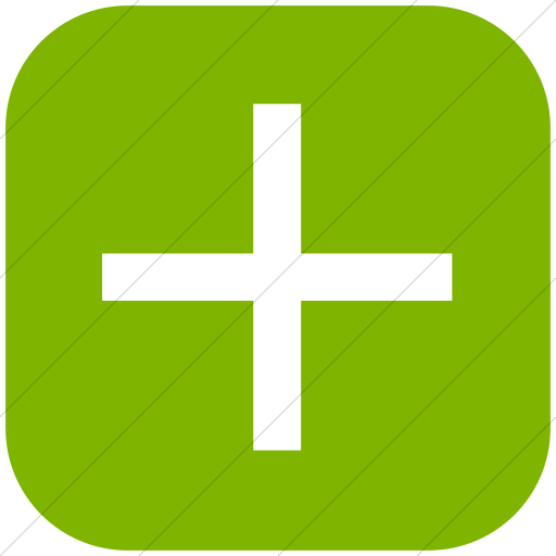 Flat Rounded Square White On Green Classica Plus Sign Icon