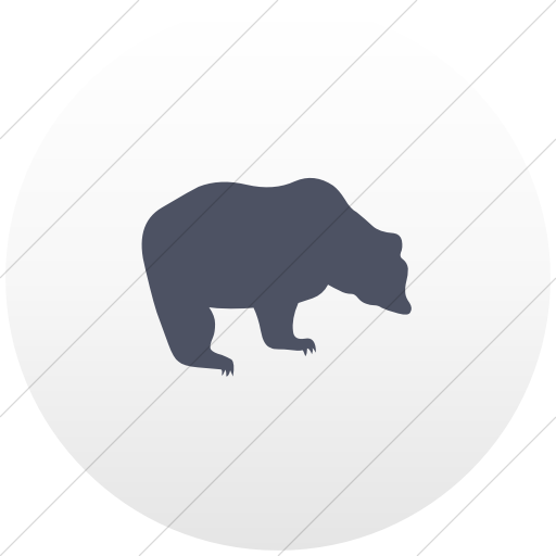 Flat Circle Blue Gray On White Gradient Animals Bear Icon