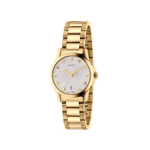 Gucci G Timeless Date Steel Silver Gold Mm Women's Watch