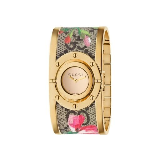 New Gucci Twirl Gold Tone Guccissima Blooms Bangle Women's Watch