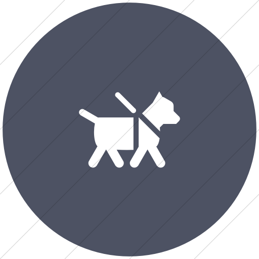 Flat Circle White On Blue Gray Foundation Guide Dog Icon