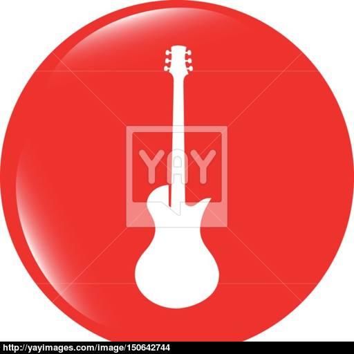 Vector Guitar Icon Button Isolated Vector