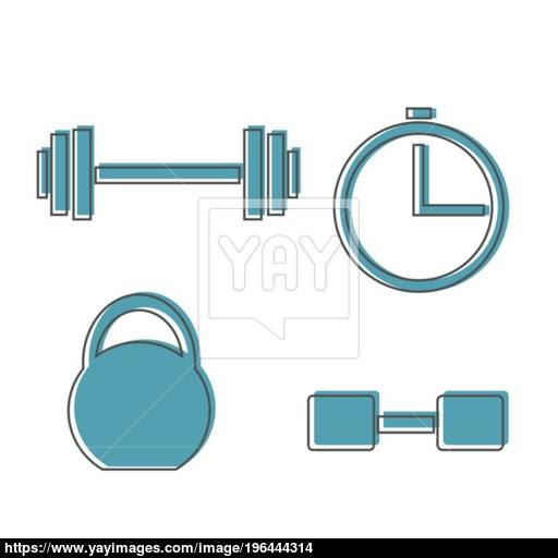 Muscle Lifting Icon, Fitness Barbell, Gym Icon, Exercise Dumbbells