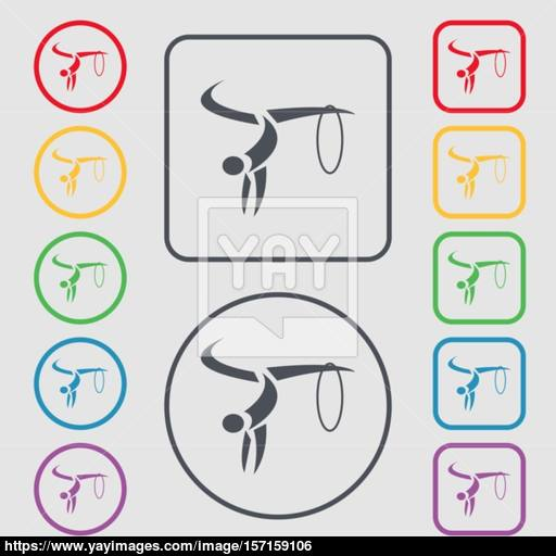 Light Gymnastics Icon Sign Symbol On The Round And Square Buttons