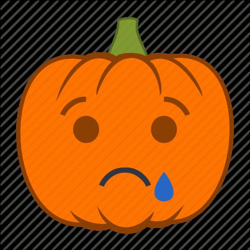 Emoji, Emotion, Halloween, Holiday, Pumpkin, Sad, Tear Icon