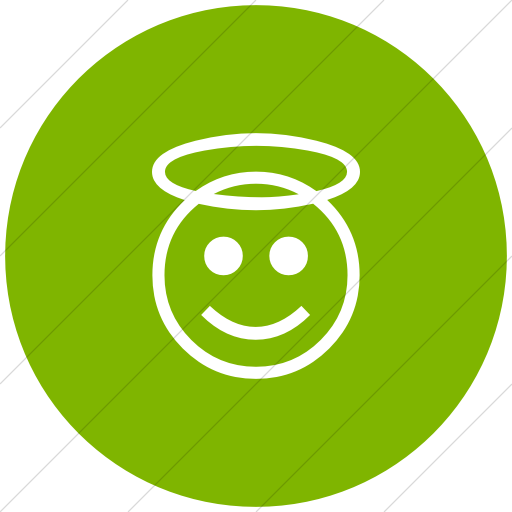 Flat Circle White On Green Classic Emoticons Smiling