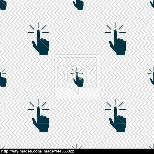 Click Here Hand Icon Sign Seamless Abstract Background