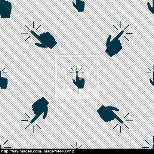 Click Here Hand Icon Sign Seamless Pattern With Geometric Texture