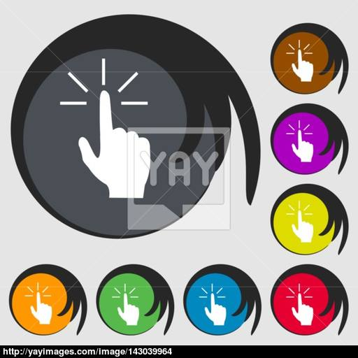 Click Here Hand Icon Sign Symbols On Eight Colored Buttons