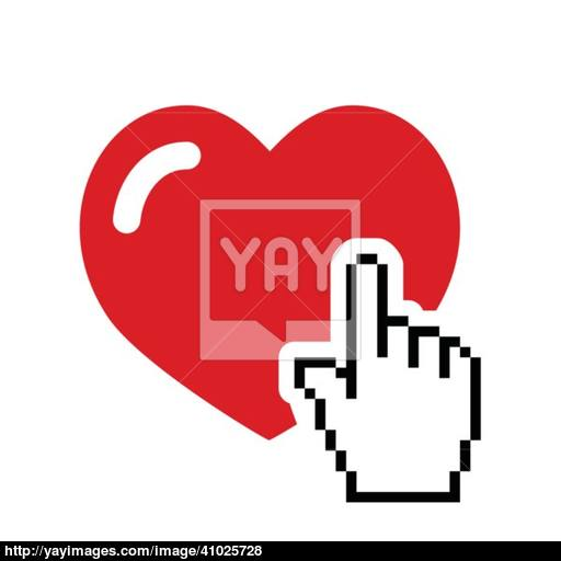 Heart With Cursor Hand Icon