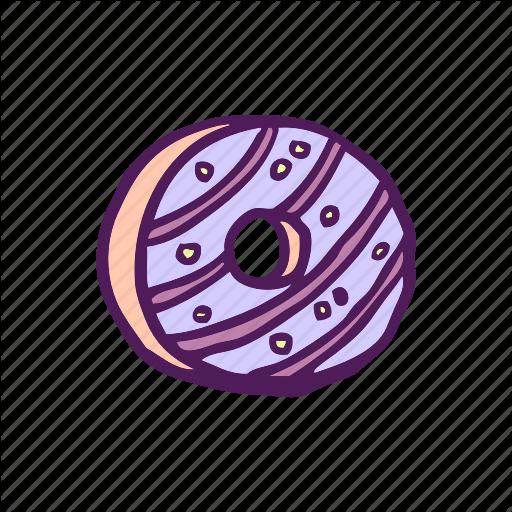 Dessert, Donut, Food, Hand Drawn Icon