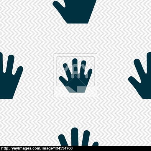 Hand Icon Sign Seamless Pattern With Geometric Texture Vector