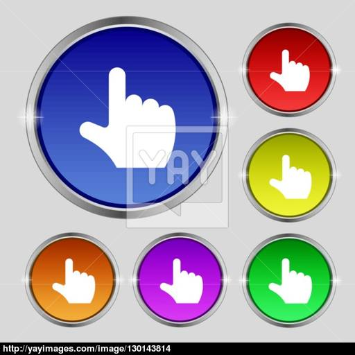 Pointing Hand Icon Sign Round Symbol On Bright Colourful Buttons