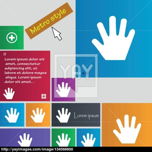 Hand Icon Sign Buttons Modern Interface Website Buttons