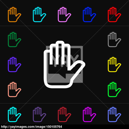 Hand Print, Stop Icon Sign Lots Of Colorful Symbols For Your