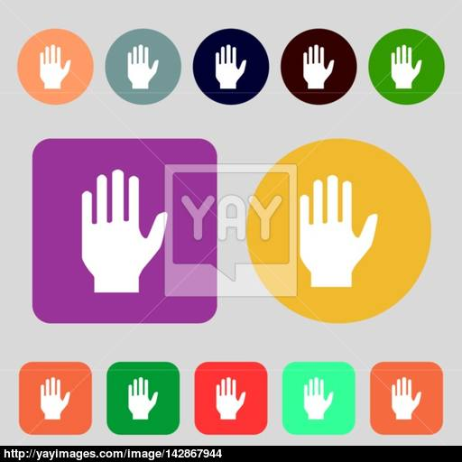Hand Print Sign Icon Stop Symbol Colored Buttons Flat Design