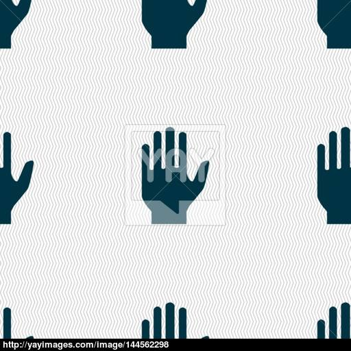 Hand Print Sign Icon Stop Symbol Seamless Abstract Background