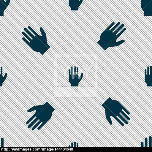 Hand Print Sign Icon Stop Symbol Seamless Pattern With Geometric