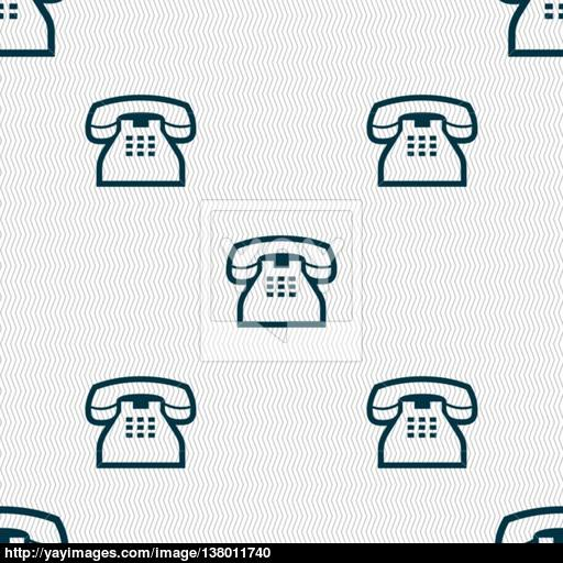 Retro Telephone Handset Icon Sign Seamless Pattern With Geometric