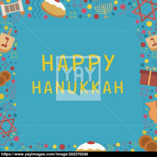 Frame With Hanukkah Holiday Flat Design Icons With Text In Engli