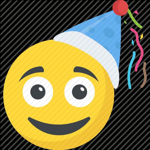 Birthday Emoji, Celebration, Happy Face, Party Emoticon, Smiley Icon