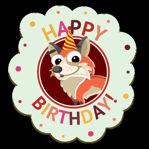 Happy Birthday Pig Cap Badge Sticker Illustration
