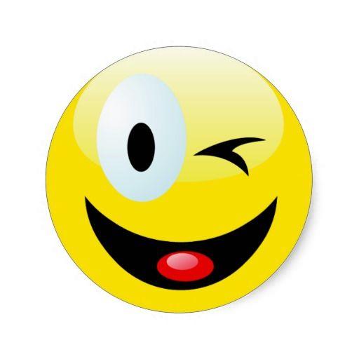 Winking Smiley Face Round Sticker Zazzle Smileys Smiley