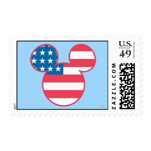 Holiday Mickey Mouse Head Flag Icon Postage Holiday