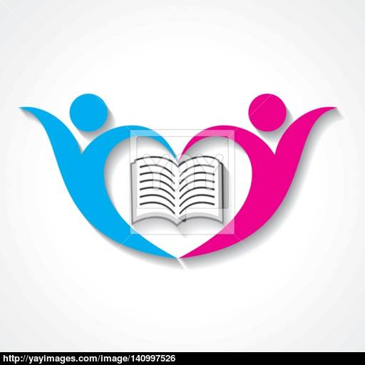 Happy Students With Book Icon Educational Symbol Stock Vector