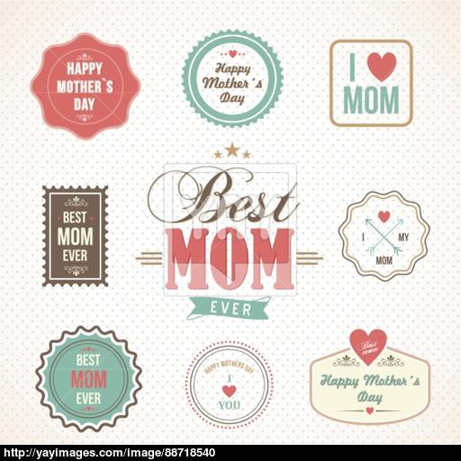 Happy Mothers Day Labels And Icons Set Vector