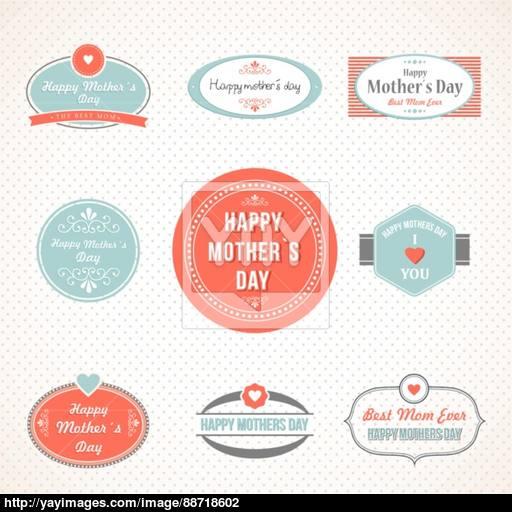 Retro Cute Happy Mothers Day Label Set Vector