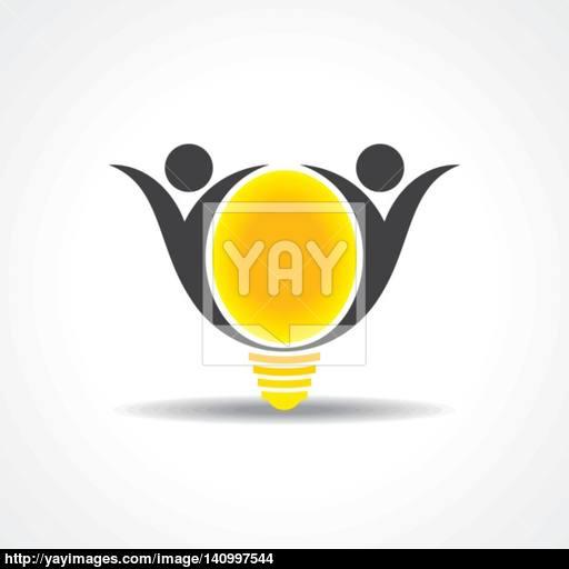 Vector Icon Of Happy People Light Bulb Stock Vector Vector