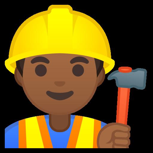Man, Construction, Worker, Medium, Dark, Skin, Tone Icon Free