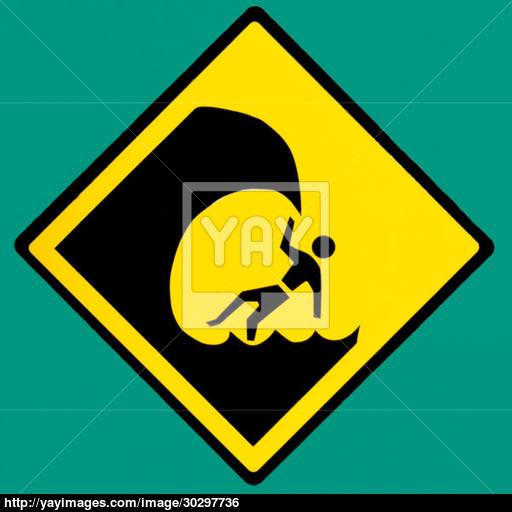 Dangerous Surf Hazard Symbol Warning Sign On Green Image