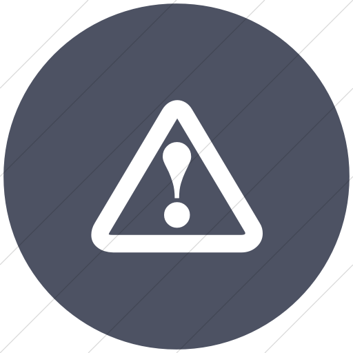 Flat Circle White On Blue Gray Classica Hazard Warning Icon