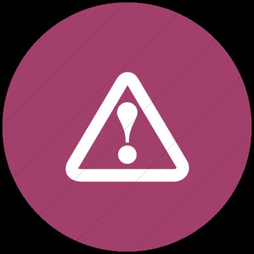 Flat Circle White On Pink Classica Hazard Warning Icon