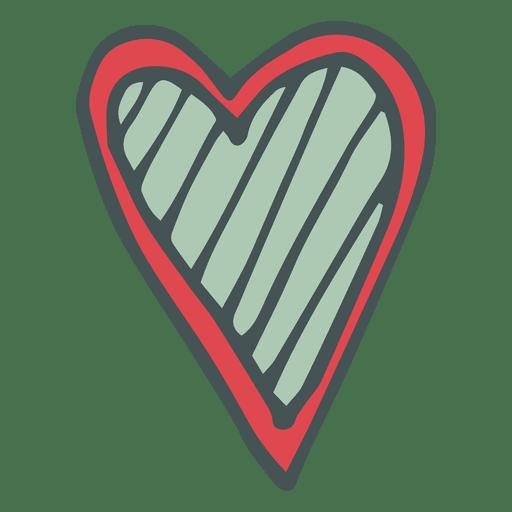 Green Red Hear Hand Drawn Cartoon Icon