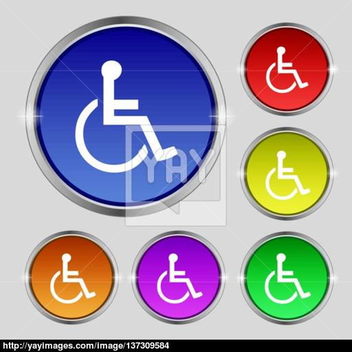Disabled Icon Sign Round Symbol On Bright Colourful Buttons