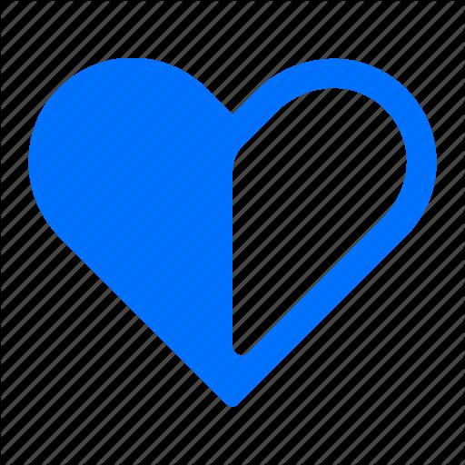 Favorite, Favourite, Half, Heart Icon