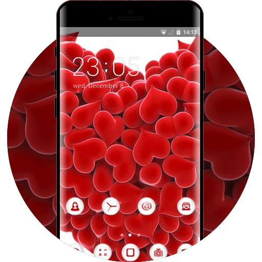 Red Heart Theme Free Android Theme U Launcher