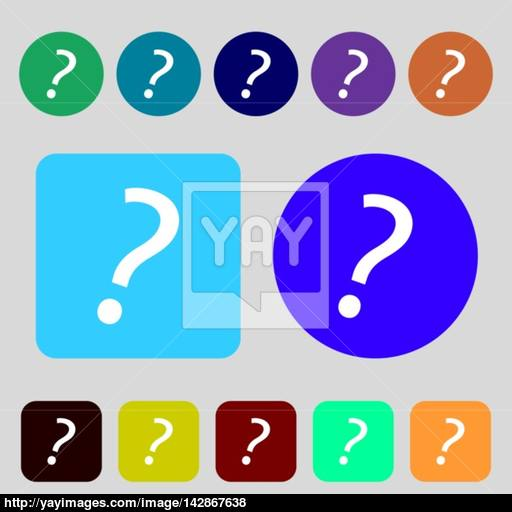 Question Mark Sign Icon Help Symbol Faq Sign Colored Buttons