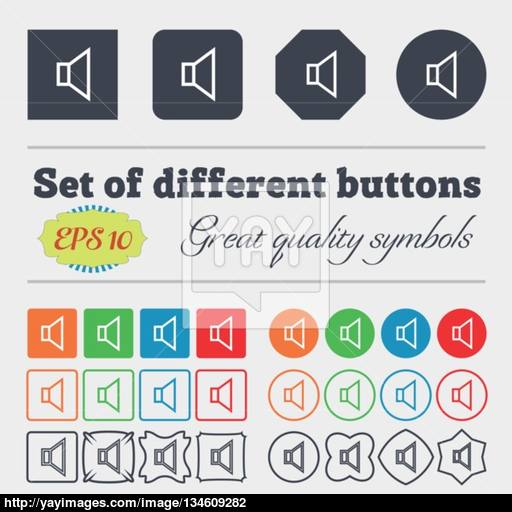 Volume, Sound Icon Sign Big Set Of Colorful, Diverse, High