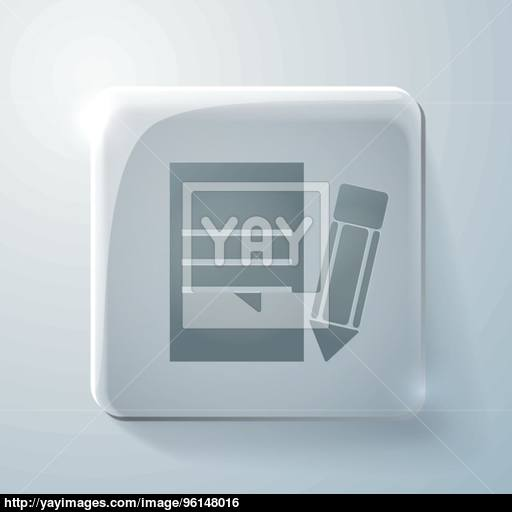 Glass Square Icon With Highlights, Sheet Of Paper Vector