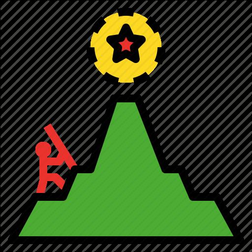 Attempt, Effort, Endeavor, Exertion, Goal, Hiking Icon