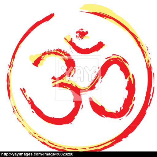 Hand Painted Hindu Om Icon Vector