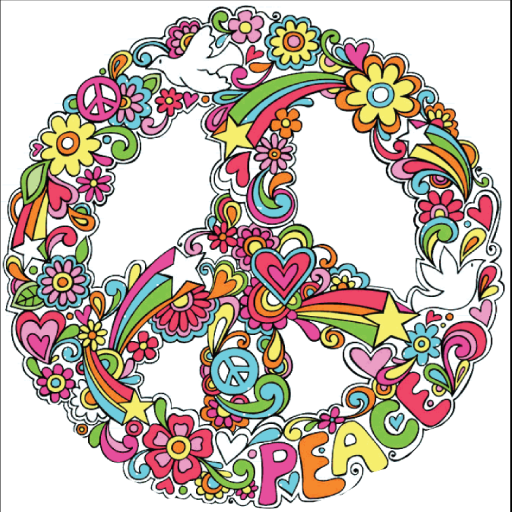 Flower Peace Sign Invisible Peace Stickers Tattoos, Peace Sign