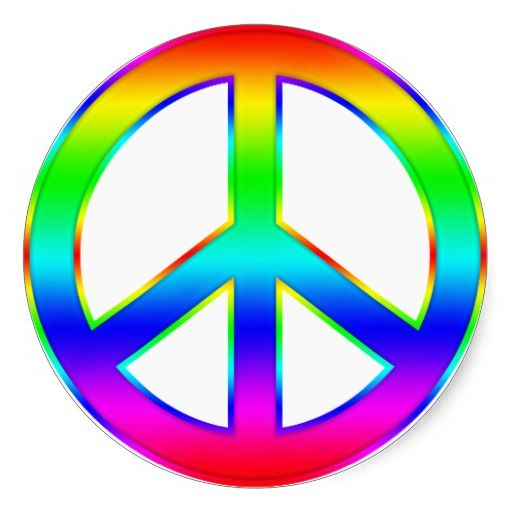 Rainbow Peace Symbol Round Stickers Colorful Stickers